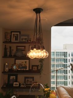 9 Cluster Pendant Light   Modern Chandelier With Color Cloth Cord    Industrial Pendant Hanging Light