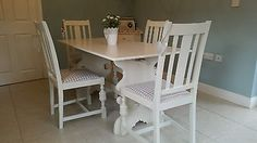 shabby chic country farmhouse table and 4 chairs Laura Ashley white & gingham in Home, Furniture & DIY, Furniture, Table & Chair Sets Shabby Chic Table And Chairs, Table And Chair Sets, Shabby Chic Furniture, Diy Furniture, Ashley White, Laura Ashley, Country Farmhouse, Farmhouse Table, Gingham