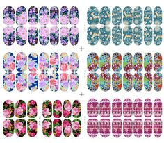6 Packs of Glow in the Dark 3D Full Nail Polish Strips Wraps Water Slide Nail Art Decals / Tattoo / Stickers, 14 Stickers Each Pack, Flower and Deer