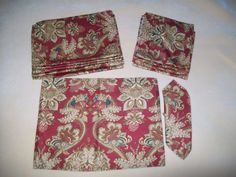 6 Each Ralph Lauren Placemats Napkins Set Lot Rust Print Place Mats 12 Pieces #RalphLauren