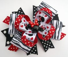 hair bows OH My ! Miss Minnie Zebra, Red, White and Black Mouse Head Boutique Hair Bow. Perfect for a visit to Disney ! Baby Hair Bows, Ribbon Hair Bows, Baby Headbands, Disney Bows, Minnie Mouse Bow, Hair Bow Tutorial, Toddler Bows, Handmade Hair Bows, Boutique Hair Bows
