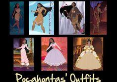 """Pocahontas' Outfits"" last 3 :( Disney Films, Disney Cartoons, Disney And Dreamworks, Disney Pixar, Disney Characters, Pocahontas Outfit, Disney Pocahontas, Princess Pocahontas, Princess Outfits"
