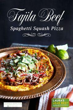 Fajita Beef Spaghetti Squash Pizza - is a healthy and delicious alternative to traditional pizza. Also Gluten-free and Paleo-friendly! @SharedAppetite #smarterbeef