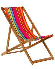 Les Toiles du Soleil 'Bonbon Plume' Teak Deck Chair