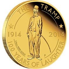 Charlie Chaplin - The tramp 100-years of laughter 2014 quarter-oz gold proof- coin reverse. Perth Mint