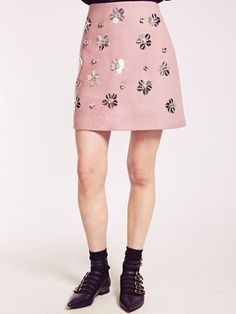 Dahlia Ruth Pink Felt A-Line Skirt with Embellished Flowers