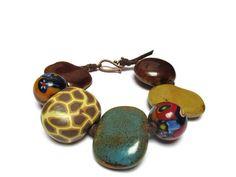 Earthy ceramic bead bracelet / Rhapsody in brown / Rustic bracelet / Bohemian bracelet / Sky and earth / Gypsy style bracelet / Wild jungle by mihacreation on Etsy