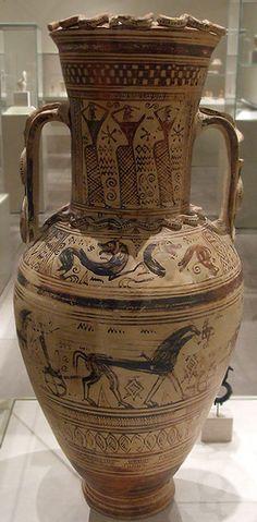 Unattributed Terracotta Neck-Amphora. Back view. Terracotta neck-amphora Greek…