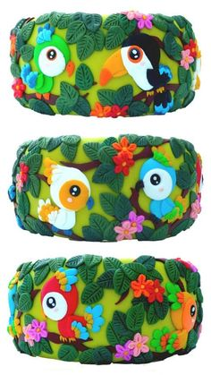 Daniela M., Italy cute african jungle bird and parrot polymer clay fashion bangles