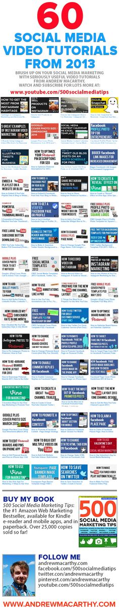 60 Super Social Media Video Tutorials From 2013 [INFOGRAPHIC] via @Andrew Mager Mager Mager Macarthy #socialmedia