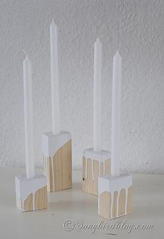 Easy to make wooden candle holders. http://www.songbirdblog.com