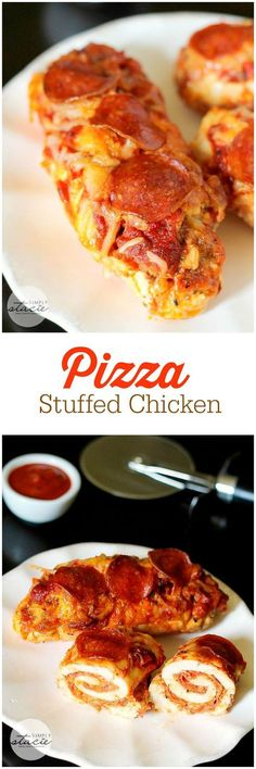 Pizza Stuffed Chicken - imagine chicken breasts stuffed with your favourite pizza toppings and baked to perfection.