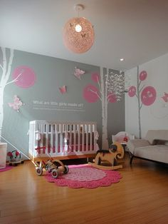 I love gray and pink for a girls nursery. And I love tree wall art, especially this with the alternating white and grays of the trees. This is so cute!