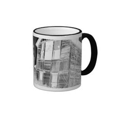 Abandoned Two Story House - negative Mugs • This design is available on t-shirts, hats, mugs, buttons, key chains and much more • Please check out our others designs
