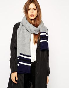 ASOS | ASOS Scarf With Contrast Rib Cuff at ASOS