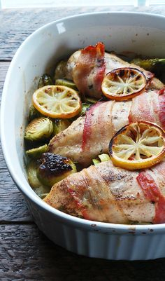 bacon- wrapped, roasted chicken breast and brussels sprouts via vodkaandbiscuits.com