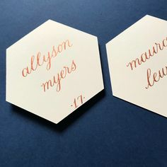 Copper and cream hexagon place card, calligraphy Light sage green place cards . Wedding Seating Display, Wedding Table Assignments, Beautiful Calligraphy, Wedding Calligraphy, Wedding Stationery, Wedding Place Cards, Wedding Signs, Fall Wedding, Wedding Ideas