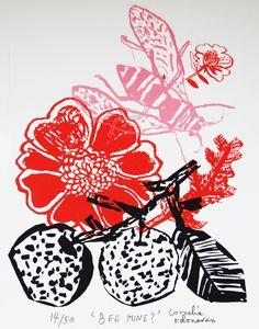 cornelia o'donovan,,printmaking, illustration, fruit, flowers, bee, wasp, insect, drawing, ink, print, lino
