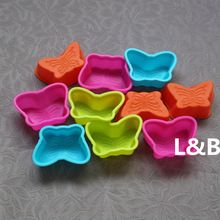 10 Pieces A Lot Silicon Muffin Baking Pan Cupcake Mold Butterfly Silicone Cake Cup(China (Mainland))