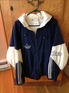 Vintage 90s Adidas Blue and White Hooded by SophiesChoiceVintage, $19.95