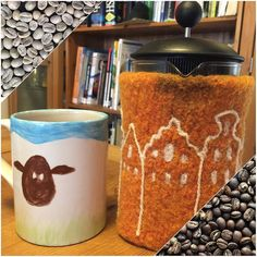 3/29 of #WeBeTEST is A.M. pick-me-up which is definitely coffee. I roast my own so it's taken from green beans all the way to my sheep mug & my (half finished) Amsterdam felted cosy-covered Bodum. What's your morning pick-me-up? by lynnslids