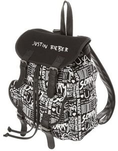 Justin Bieber Black and White Backpack. Authentic Justin Bieber Official Brand