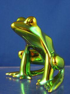 Zsolnay Hungary Green Eosin Frog Figurine