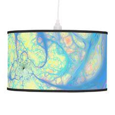 Blue Angel, Abstract Cosmic, Azure, Lemon Hanging Pendant Lamp $94.95