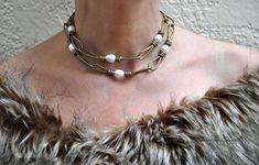 Pearl and Leather Jewelry 31 inch Leather by ChristineChandler. www.etsy.com/shop/ChristineChandler