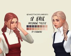 @sweettacoplumbobs​ 's 18 hair recoloured sooo sweettacoplumbobs is back with this amazing hair!! and since I've gotten confirmation that it's okay to recolour, here it is recoloured in the saccharine...