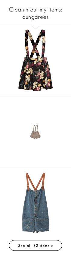 """""""Cleanin out my items: dungarees"""" by opaline11 ❤ liked on Polyvore featuring skirts, bottoms, dresses, overalls, flared floral skirt, flared skirt, floral skirt, floral print skirt, flower print skirt and shorts"""