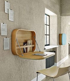 A wall mounted desk is a great space-saving solution to your home office problem. Available in every size, shape and form they are stylish and functional.
