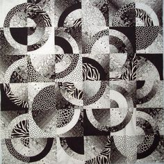Black and white Strips and Curves quilt by Wanda S. Hanson | Exuberant Color.  This circular pattern quilt is a colorwash technique which relies totally on value. You need many, many steps of value to get an even blend.