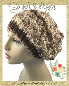 #cpromo Striped Brown Mult-Color Beret Ladies Lacy hand knit caron simply soft yarn