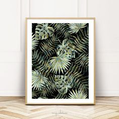 Jungle Dark Tropical Leaves by Menega Sabidussi. A painting and pattern of dark green palm and monstera leaves on a dark background. #boho #aesthetic #plants #home #decor #artprints Also available on decor products such throw pillows, curtains, bedding, serving trays, case covers, bags, puches etc.