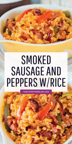 This smoked sausage and peppers with rice is easily one of our favorite weeknigh. This smoked sausage and peppers with rice is easily one of our favorite weeknight meals! Smoked Sausage Recipes, Pork Recipes, Cooking Recipes, Healthy Recipes, Rice Recipes, Recipes Using Sausages, Chicken Sausage Recipes, Delicious Recipes, Rice