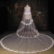 Haute qualité Appliqued une couches voiles De mariée 3.5 M De long voile blanc De mariage Velos De Novia 2015 WV-1005(China (Mainland))