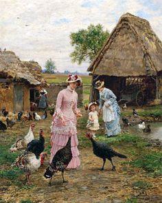 Feeding the Turkeys - Marie-Francois Firmin-Girard - (French, 1838 - 1921) the-athenaeum.org