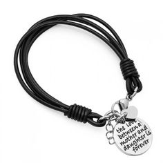 """""""The Love Between a Mother and Daughter is Forever"""" Leather Bracelet - 2 Finishes Leather Charm Bracelets, Daily Deals, Stainless Steel Bracelet, Great Gifts, Fashion Accessories, Daughter, Unisex, Personalized Items, Gold"""