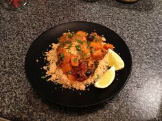 butternut squash, olives in tomato sauce with couscous