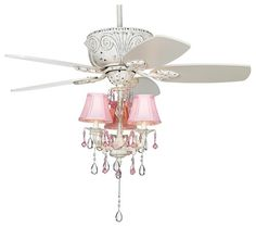 """~lighting for girls room Coastal 43"""" Casa Deville Pretty in Pink Pull Chain Ceiling Fan eclectic ceiling fans"""