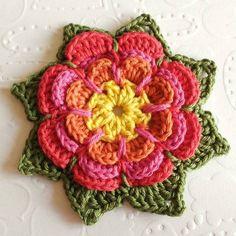 Beautiful Crochet Flower Tutorial from: Olav World – teresajames Love Crochet, Beautiful Crochet, Diy Crochet, Crochet Crafts, Yarn Crafts, Crochet Projects, Crochet Fabric, Beginner Crochet, Crochet Ideas