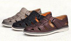 Mens Fisherman Sandals Comfort Leather Closed Toe Apricot
