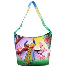 ZINT Genuine Leather Hand Painted Hobo Bag with a pair of peacocks sitting on a tree