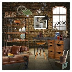 """""""Industrial Home Decor"""" by marionmeyer on Polyvore featuring interior, interiors, interior design, Zuhause, home decor, interior decorating, WALL, DutchCrafters, Amanti Art und Westinghouse"""