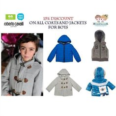 Only from October 6th till October 12th enjoy 15% #discount on all autumn and winter #coats and #jackets for children during the COATS WEEK at www.kidsandchic.com.   This promotion is applicable to outlet items as well. Use the code COATS15OFF at checkout.  Shop coats for boys: www.kidsandchic.com/boy/boys-products/boy-coats-jackets #boysclothing #boysfashion #kidsfashion #trendychildren #kidsclothing #shoppingbarcelona #backtoschool #vueltaalcole #castelldefels #barcelona