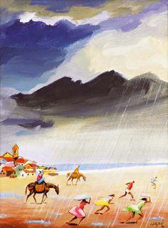 HECTOR CARYBÉ - A chuva Óleo sobre tela - 40 x 30 - 1990