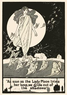 """Lady Moon lights her lamp. Vintage illustration from """"Fairy Roads to Science-Town"""" by Mary Earle Hardy. Illustrated by Helen M. Barton. Copyright 1919."""