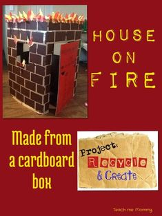 House on fire made from a cardboard box - Teach Me Mommy - You ladies need a firefighter week so you can play with this! Dramatic Play Area, Dramatic Play Centers, Firefighter Dramatic Play, Fire Safety Week, Fire Prevention Week, People Who Help Us, Community Helpers Preschool, Role Play Areas, Play Centre