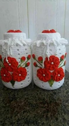 Criatividade pura: Veja lindas idéias de vidros personalizados com crochê fica realmente lindos... Crochet Flower Patterns, Crochet Patterns Amigurumi, Crochet Designs, Crochet Flowers, Crochet Kitchen, Crochet Home, Crochet Gifts, Crochet Baby, Crochet Chart